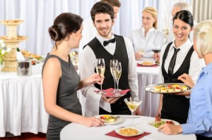 Catering service at business meeting offer food refreshments to woman